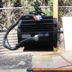 Solectria AC55 motor.  250lbs,   100hp and 175 foot pounds of torque with stock UMOC445TF inverter.   Handy lifting eye.
