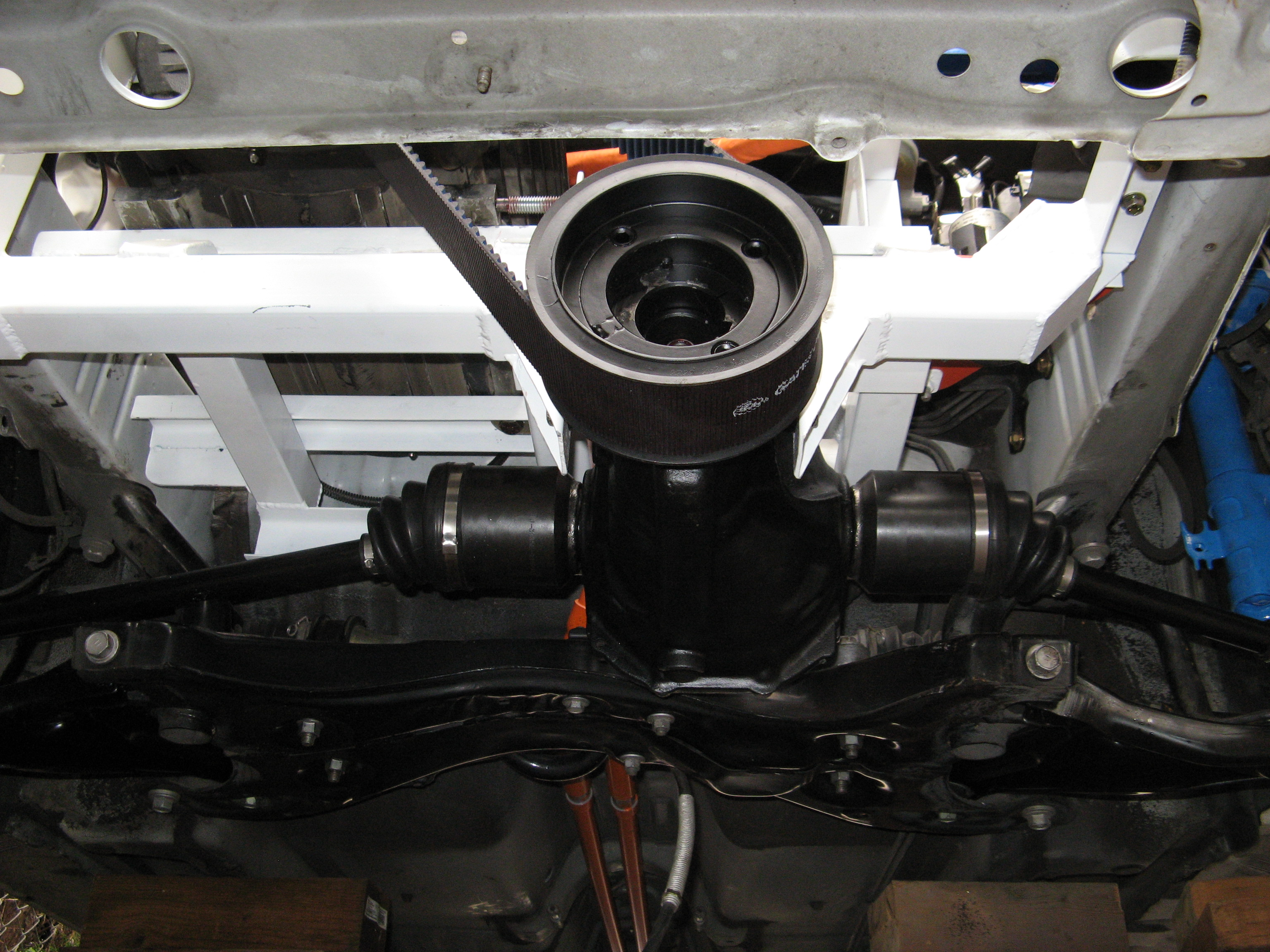 Underside Of Motor Compartment Showing 1985 Celica Gts Diffeial And Belt Drive