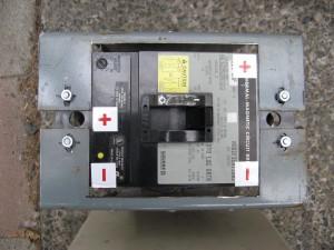 square D KHL36225DCxxxx circuit breaker.  225A continuous, 500A magnetic trip, 500VDC breaker.