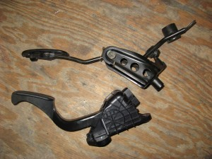 prius throttle pedal (bottom) next to scion xB gas pedal (top)