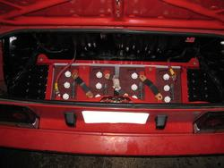 Toyota MR2 trunk with batteries.  Still have usable space for cargo.