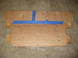 Cardboard mockup of rear battery rack