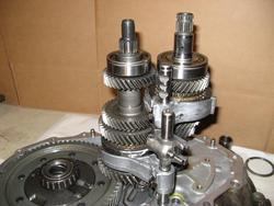 Toyota MR2 transmission mainshaft and driven shaft assembled without fifth or reverse components
